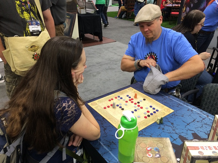 Element game designer Mike Richie demos the game at Origins Game Fair